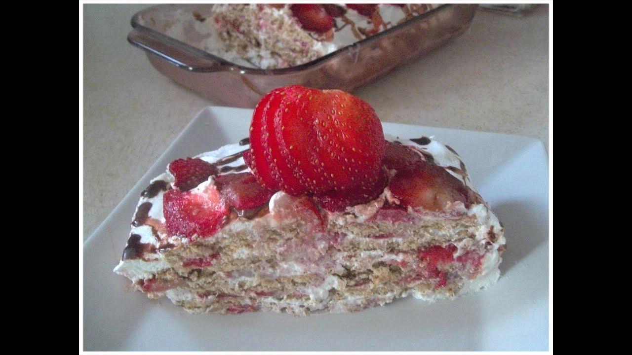 Juegos De Cocinar Con Tarta De Fresa   Pastel Frio De Galleta Y Fresa Sin Horno Y Solo 4 Ingredientes