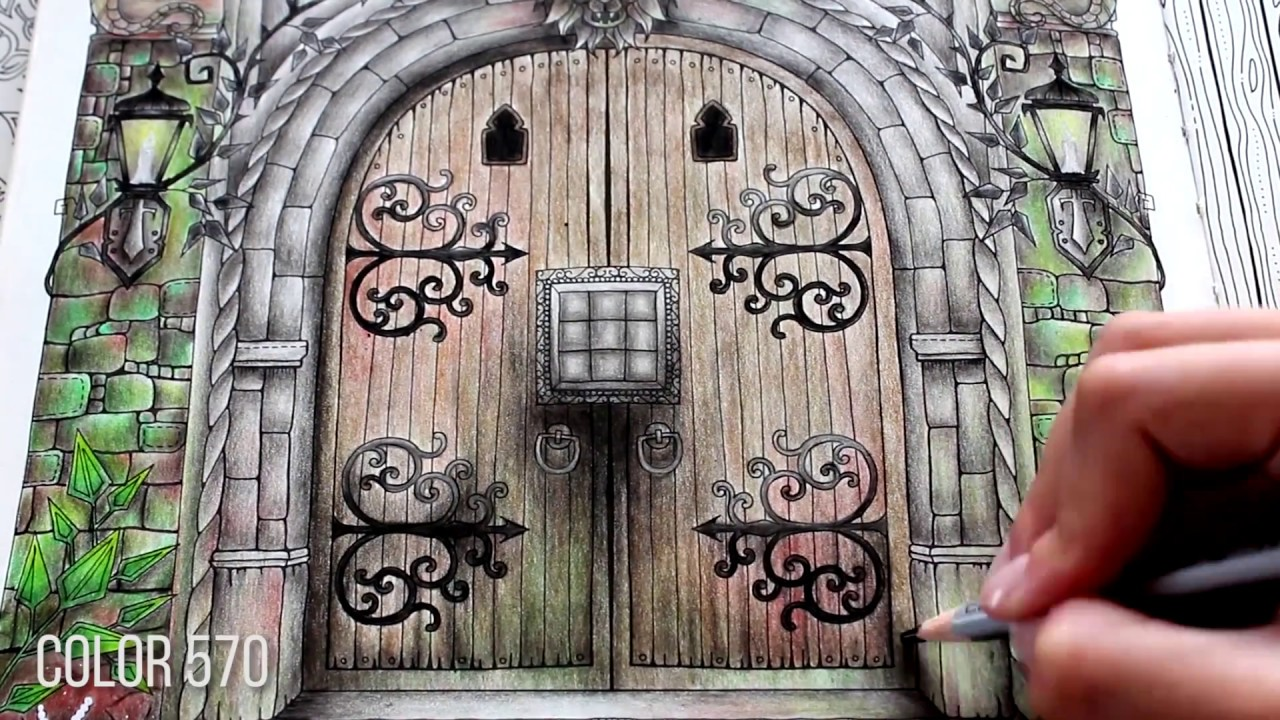 Castle door | Time Lapse Coloring | Enchanted Forest by Johanna Basford : enchanted door - pezcame.com