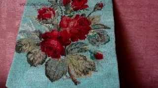 Старинная вышивка крестиком. Букет алых роз. Винтаж. Vintage collection