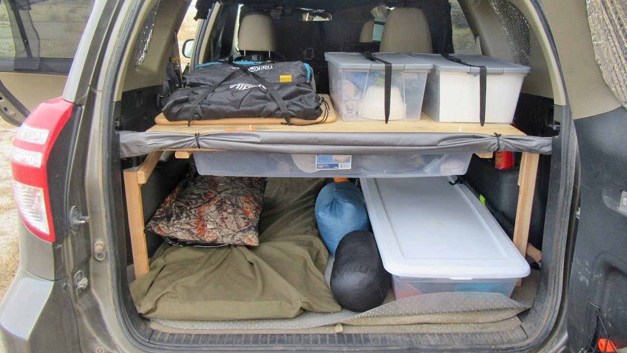 making a cargo storage shelf in the back of an suv or van vandwelling tips youtube. Black Bedroom Furniture Sets. Home Design Ideas
