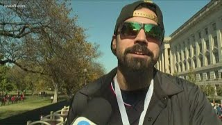 Anthony Rendon celebrates winning the World Series at the Nationals parade in DC