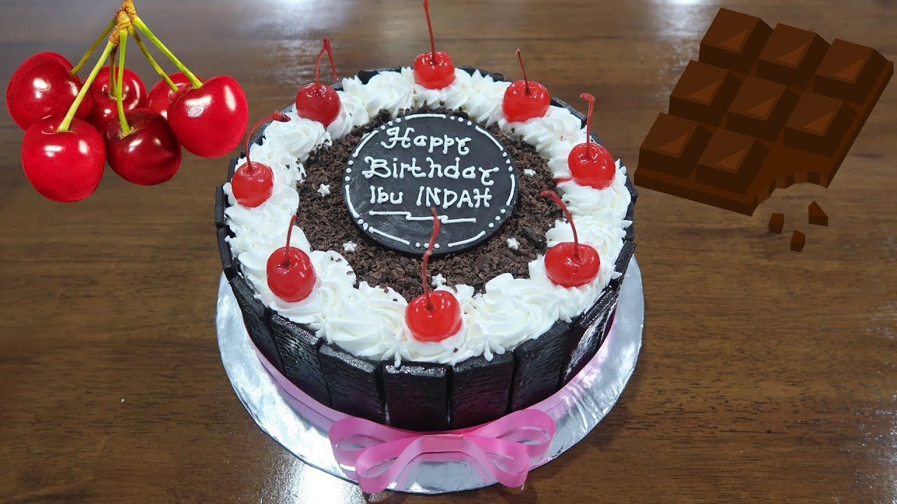 Happy Birthday Cake Simple Chocolate Fence Black Forest
