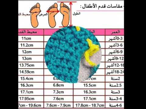f018347bc كروشية .. جدول مقاسات احذية الأطفال - YouTube