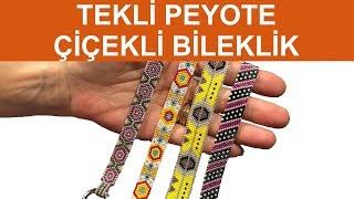 Single peyote flowered bracelet