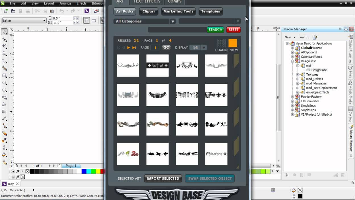 CorelDRAW X6 working with the macro manager