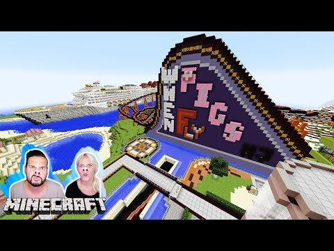 KAAN + NINA IM SCHWEINE-FREIZEITPARK! Achterbahn im Schiff! When Pigs Fly Amusement Park Minecraft