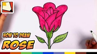How to Draw a Rose Easy - Open Rose Art Tutorial - Easy Art for Kids | CC