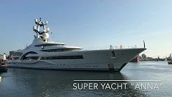 Superyacht Anna leaving port of Den Helder for sea trials