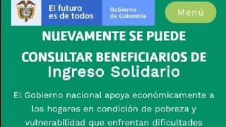 Ya Se Puede Consultar Nuevamente Si Soy Beneficiario de Ingreso Solidario.?