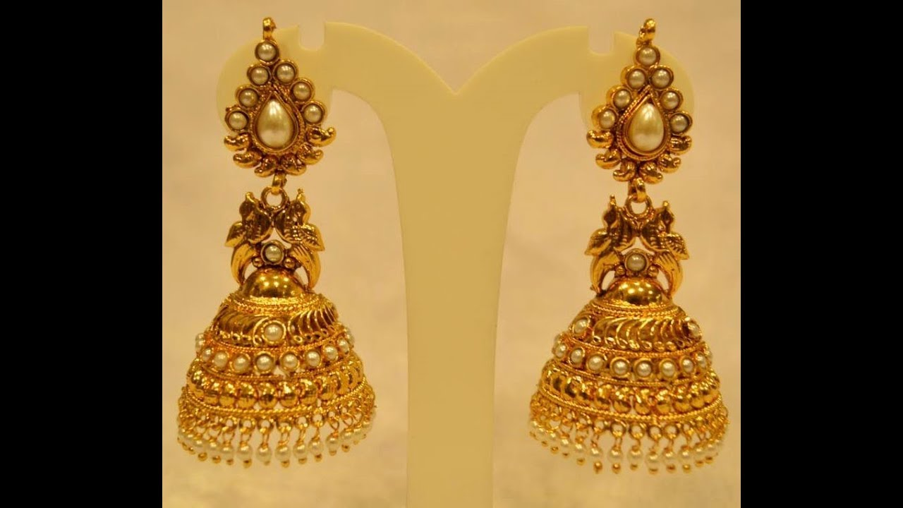 Latest Fashion Gold Long Jummuka Earrings Yellow Gold Jhumka