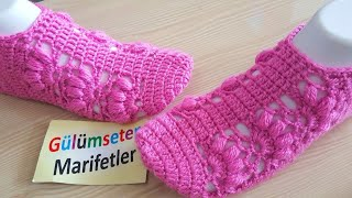 How to Crochet slippers with a pistachio flowers knitting tutorial  making