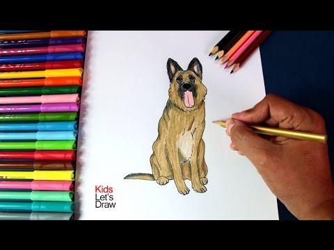 Cómo Dibujar un Perro Pastor Alemán paso a paso | How to draw German ...