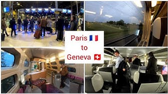 Paris to Geneva Switzerland with TGV Lyria, high speed train, First class 4K