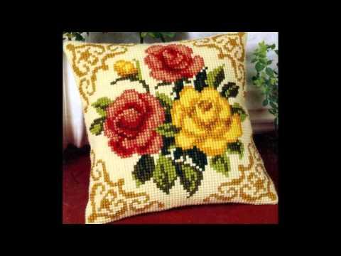 Вышивка подушки схемы лентами
