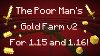 Poor Man's Gold Farm v2 - Minecraft Gold/XP farm Java 1.15 - 1.16!