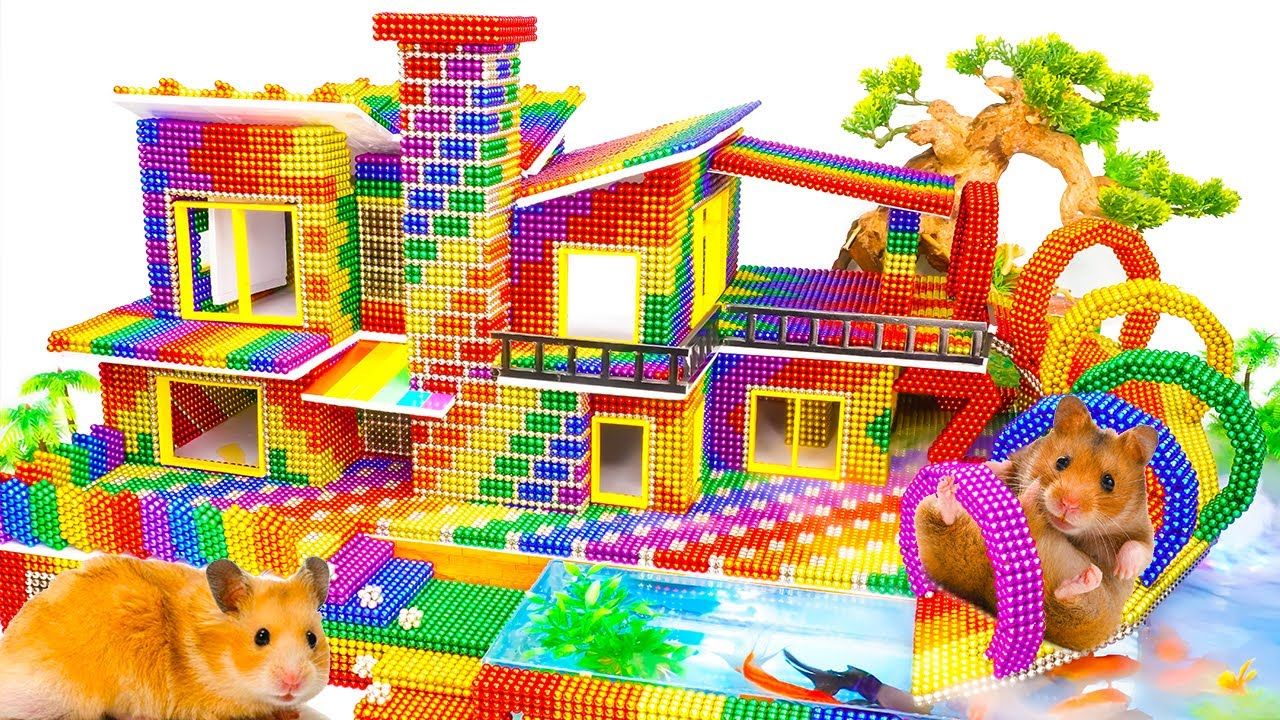 DIY - Build Rainbow Playground House Has Tube Slide, Pool For Pets With Magnetic Balls (Satisfying)