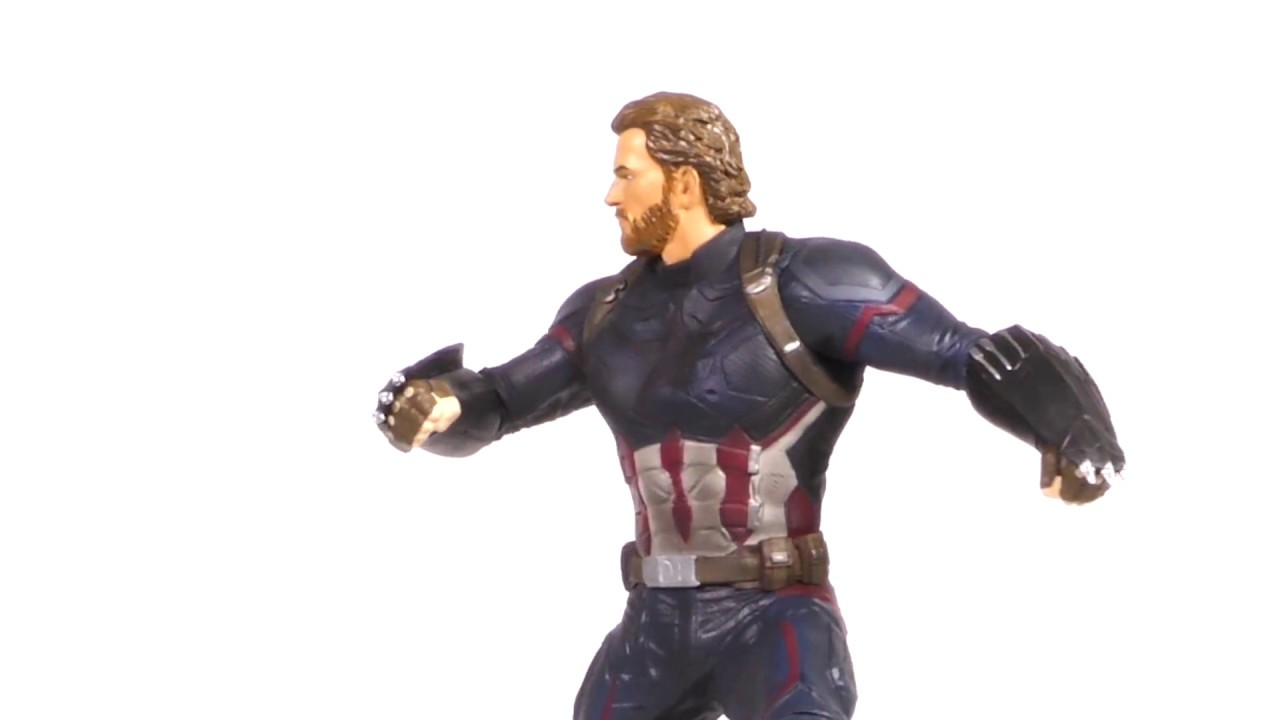 Marvel Movie Gallery Infinity War Captain America PVC Diorama Unboxing + 360