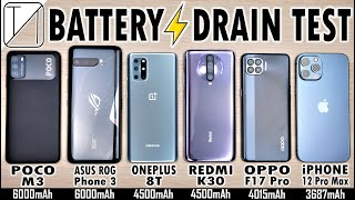 POCO M3 vs ROG 3 / OnePlus 8T / Redmi K30 / OPPO F17 Pro / iPhone 12 Pro Max Battery Life DRAIN Test