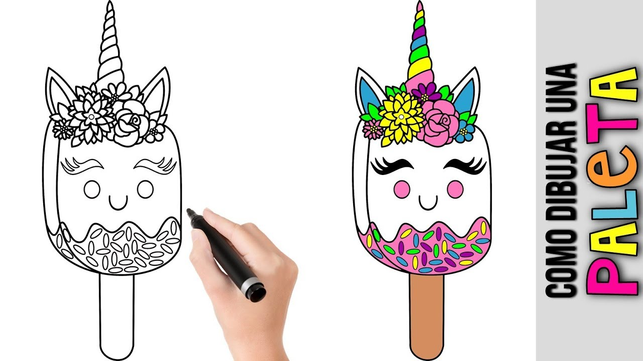 Como Dibujar Una Paleta Unicornio Kawaii Dibujos De Unicornios Unicornios Unicornio