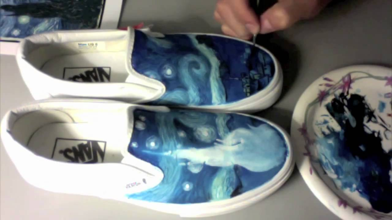 Custom painted shoes enhaokicks starry night vans youtube