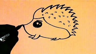 ART LESSON 62: HOW TO DRAW CARTOON Hedgehog STEP BY STEP - FOR BEGINNERS