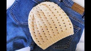 Летняя ажурная шапочка для девочки. Мастер класс спицами!