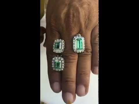 Clean and clear natural Colombian emerald diamond earrings and pendant