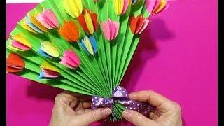 Сделать Красивые Поделки Подарки🌷Маме Бабушке Учителю Подруге Цветы Бумага Букет МК