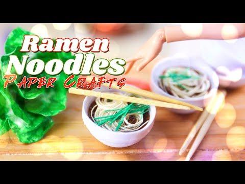 DIY - How to Make: PAPER CRAFTS | Doll Ramen Noodles PLUS Bowl and Chop Sticks
