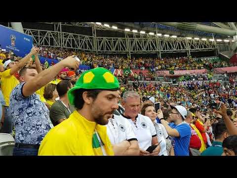 Brazil Vs. Belgium quartefinals World Cup Russia 2018. National Anthems Kazan. 6 july 2018
