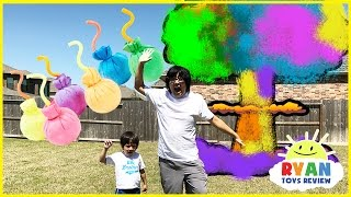Learn Colors with Chalk Ball Blast Family Fun Outdoor Activities for kids