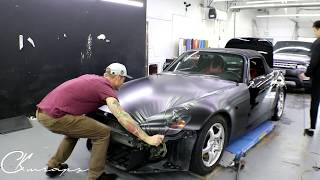 10 MINUTE HOOD WRAP With Corners On A Honda S2000 (no talking) By @ckwraps