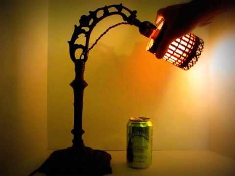 Antique cast iron art nouveau bridge lamp for desk or table