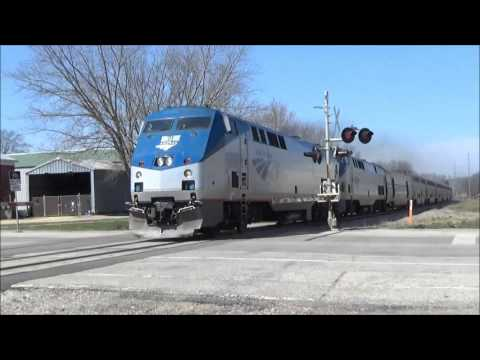 Amtrak Empire Builder Train 8 Blasts Through Downtown West Salem, WI