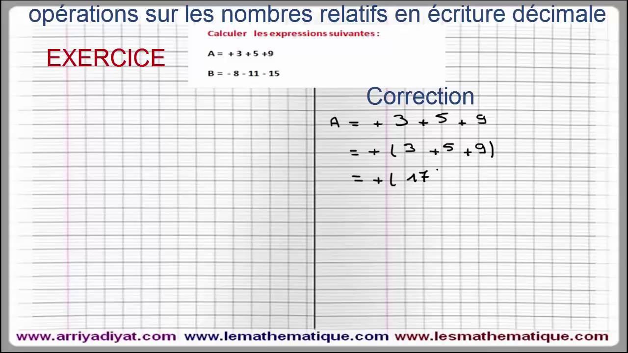 Maths 5ème - Les nombres relatifs repérage Exercice 1 ...