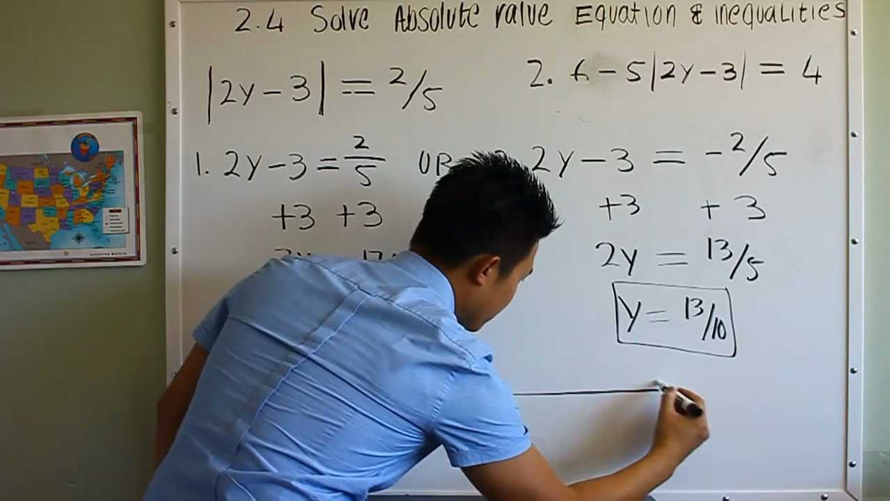 Algebra 2 Solving Absolute Value Equations And Inequalities Part 1