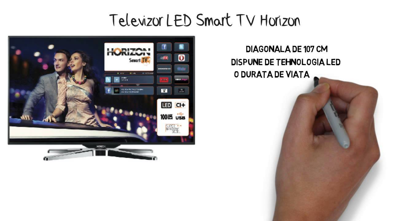 televizor led smart tv horizon 107 cm youtube. Black Bedroom Furniture Sets. Home Design Ideas