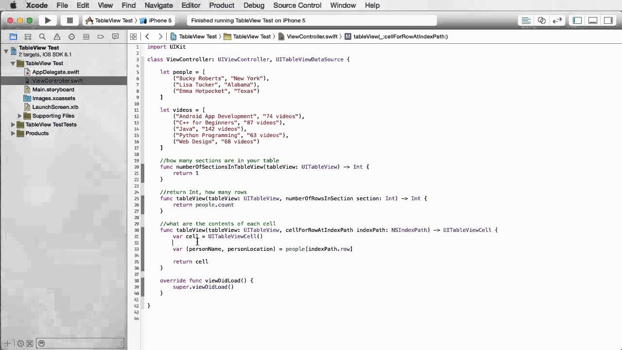 iOS Development with Swift Tutorial - 21 - Populating a Table from a Data Source