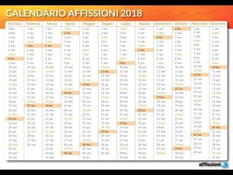 Calendario Progressivo 2020.Calendario Affissioni 2018 Affissioni It