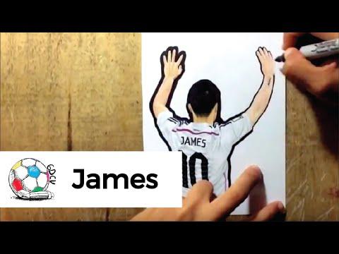 Dibujo del colombiano James Rodriguez en su presentacin como