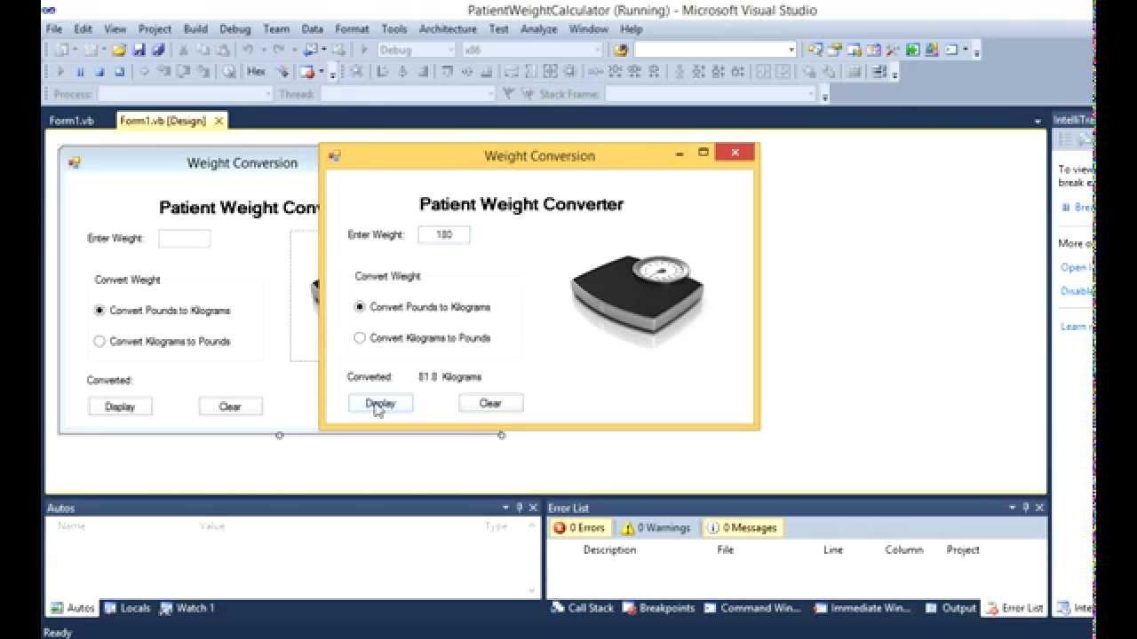 Download PATIENT WEIGHT CONVERTER VB.Net - YouTube