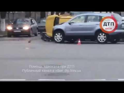 19.11.2016 ДТП КИЕВ ШЕВРОЛЕ СПУСК СТОЛБ