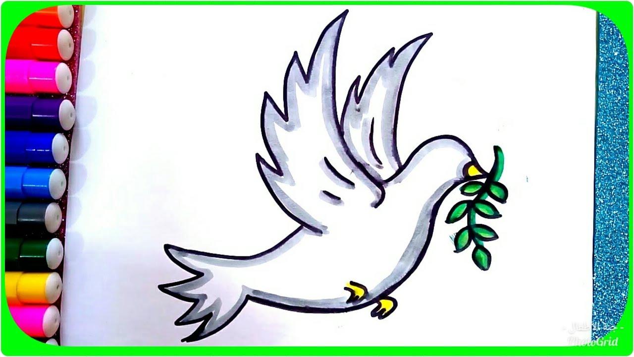 رسم حمامة السلام وغصن الزيتون للأطفال رسم حمامة تطير بالخطوات وبطريقة سهلة Youtube