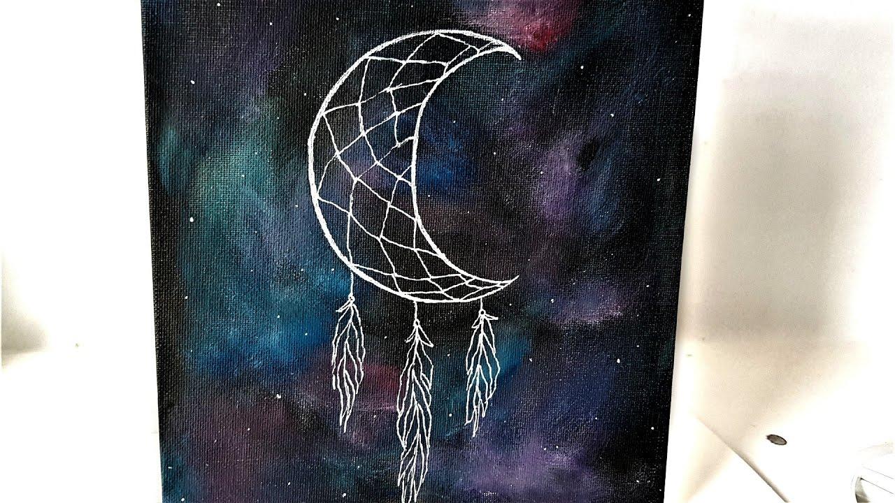 Diy Galaxy Crescent Moon Dreamcatcher Canvas Art⋆ Youtube