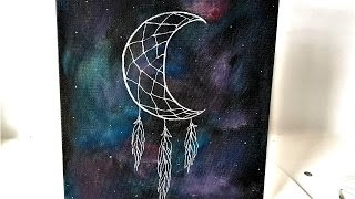 DIY Galaxy ✦ Crescent Moon Dreamcatcher Canvas Art⋆