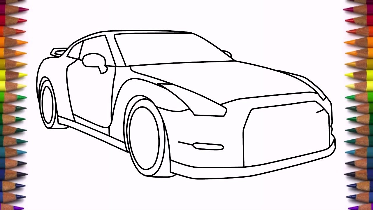 How to draw Nissan GTR step by step drawing a car - YouTube