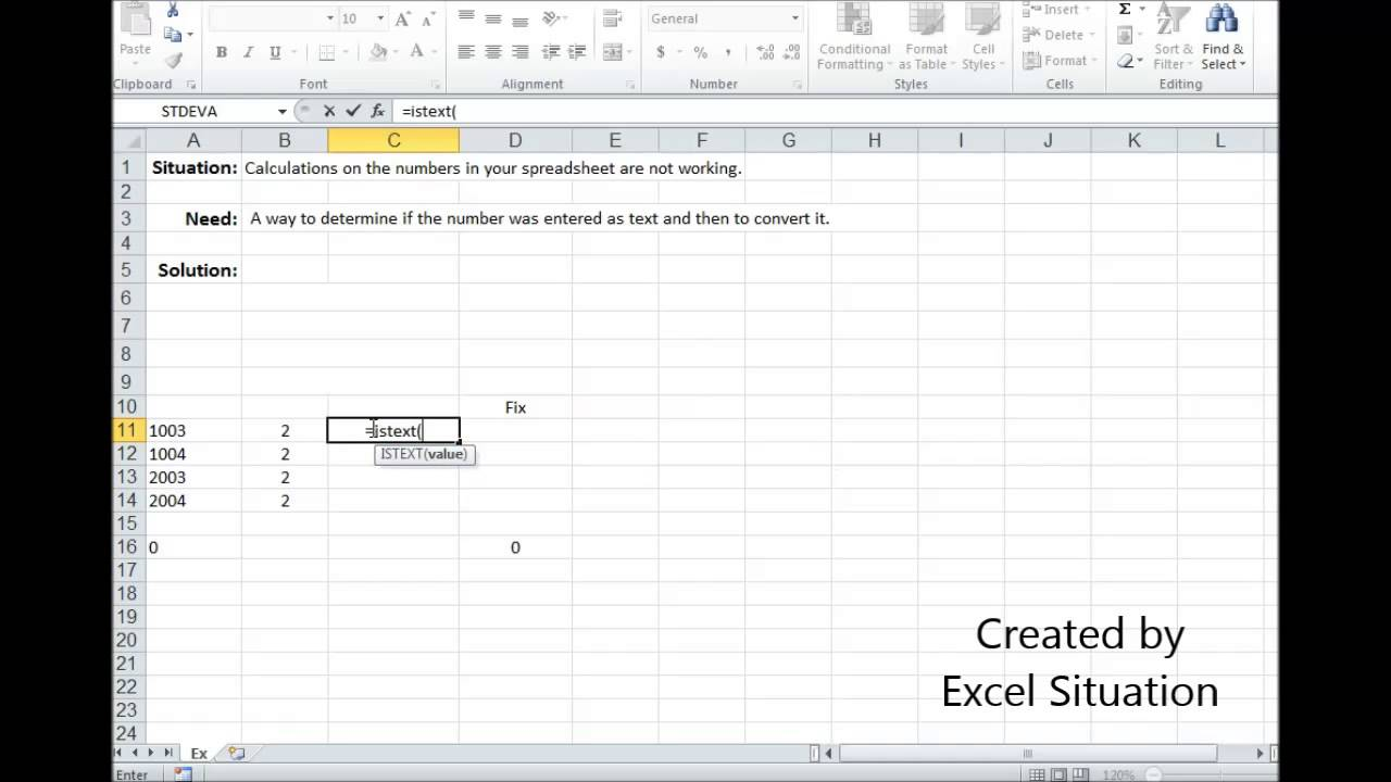 Excel Numbers or Text; calculations not working
