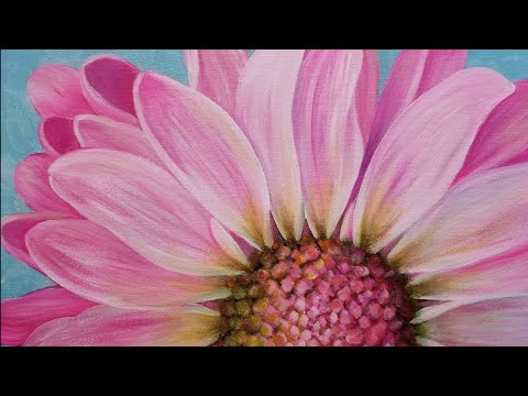 Pink Daisy Large Floral Acrylic Painting Tutorial Live