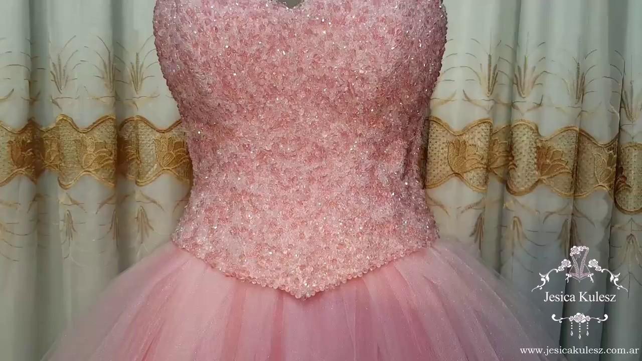 Vestido de princesa en color rosa bordado en piedras - YouTube