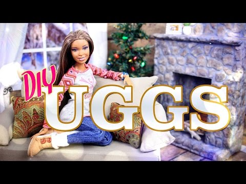 DIY - How To Make: Doll UGG Boots - Winter - Holiday - Craft - 4K